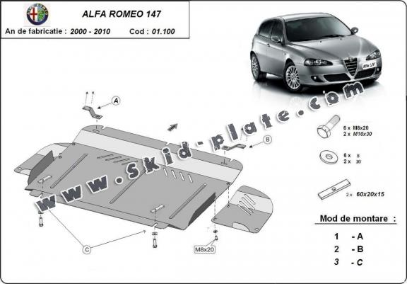 Steel skid plate for the protection of the engine and the gearbox for Alfa Romeo 147