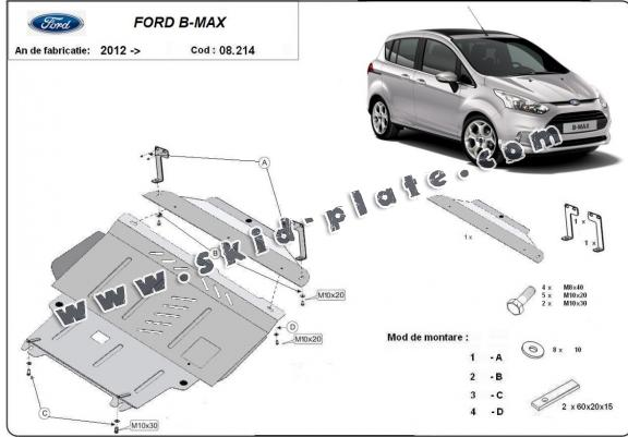 Steel skid plate for Ford B-Max