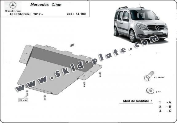 Steel skid plate for Mercedes Citan