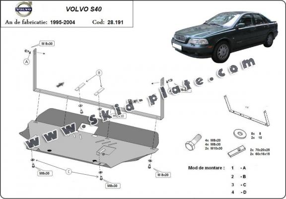 Steel skid plate for Volvo S40