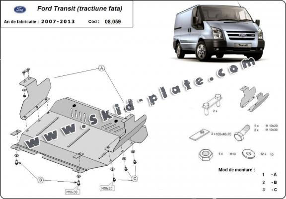 Steel skid plate for Ford Transit - FWD