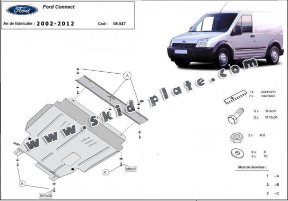 Steel skid plate for Ford Transit Connect