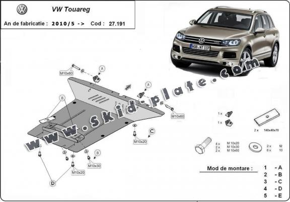 Steel skid plate for VW Touareg