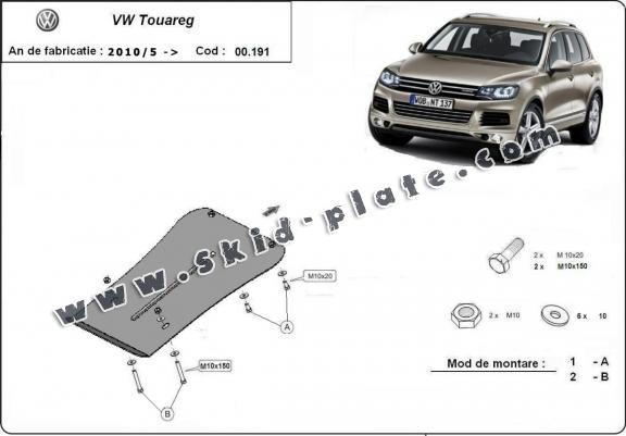 Steel gearbox skid plate for VW Touareg