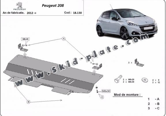 Steel skid plate for Peugeot 208