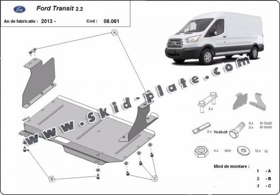 Steel skid plate for Ford Transit
