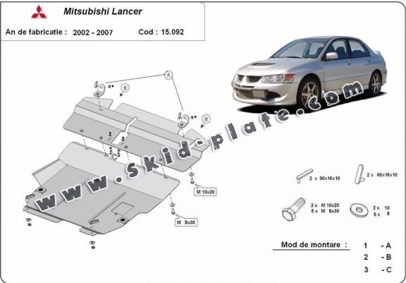 Steel skid plate for Mitsubishi Lancer