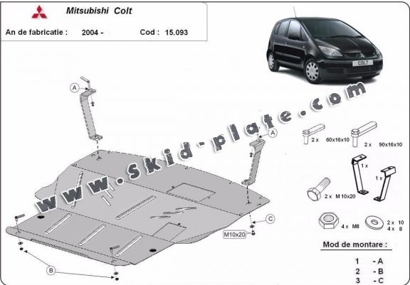 Steel skid plate for Mitsubishi Colt