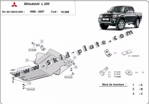 Steel skid plate for Mitsubishi L200