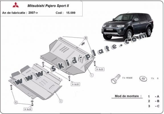 Steel skid plate for the protection of the engine and the radiator for Mitsubishi Pajero Sport 2