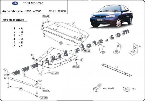 Steel skid plate for Ford Mondeo 1,2