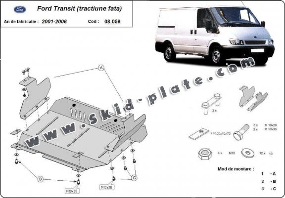 Steel skid plate for the protection of the engine and the gearbox for Ford Transit - FWD