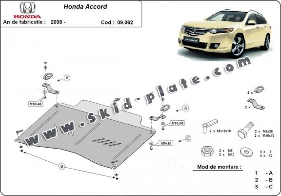 Steel skid plate for the protection of the engine and the gearbox for Honda Accord