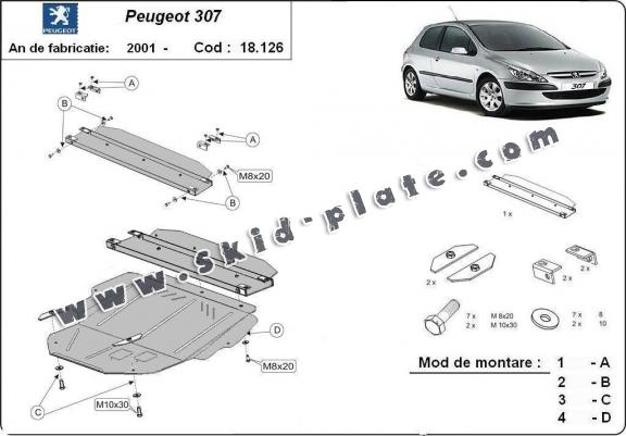 Steel skid plate for Peugeot 307