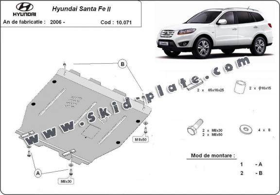 Steel skid plate for Hyundai Santa Fe
