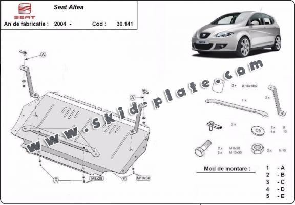 steel skid plate for seat altea