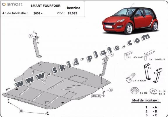 Steel skid plate for the protection of the engine and the gearbox for Smart FourFour petrol