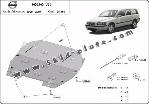 Steel skid plate for Volvo S70