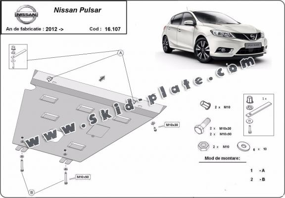 Steel skid plate for Nissan Pulsar