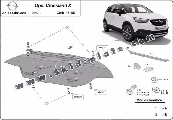 Steel skid plate for Opel Crossland X