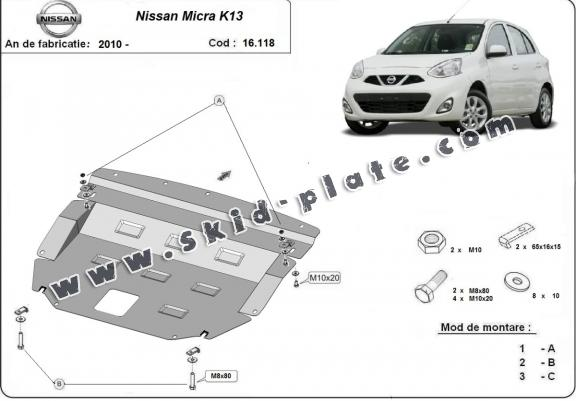 Steel skid plate for Nissan Micra