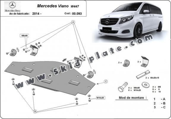 Steel skid plate for the protection of the Stop&Go system Mercedes Viano W447, 4x2, 1.6 D