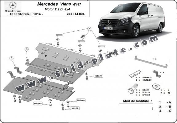 Steel skid plate for Mercedes Viano W447, 2.2 D, 4x4