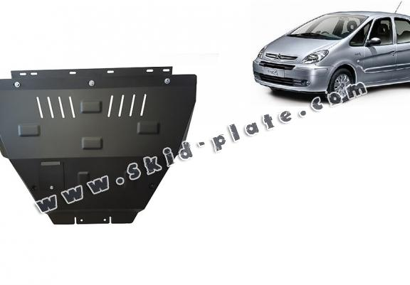 Steel skid plate for the protection of the engine and the gearbox for Citroen Xsara Picasso