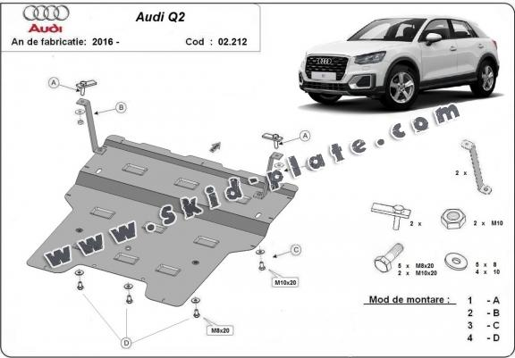 Steel skid plate for Audi Q2