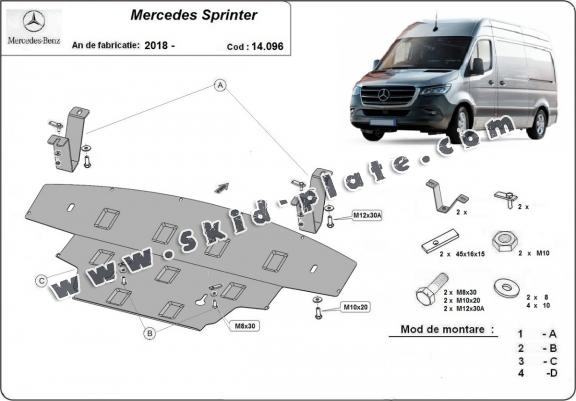 Steel skid plate for Mercedes Sprinter-RWD