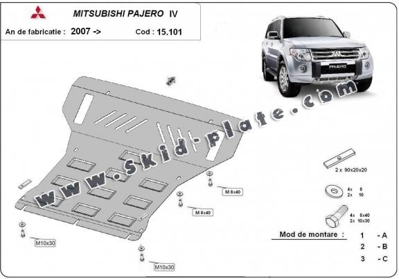 Steel skid plate for the protection of the engine and the radiator for Mitsubishi Pajero 4 (V80, V90)