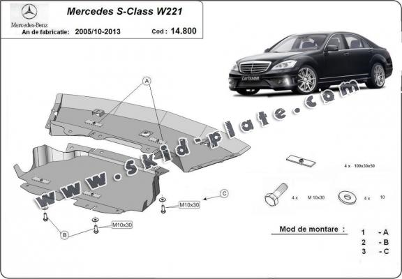 Steel skid plate for Mercedes S-Classe W221