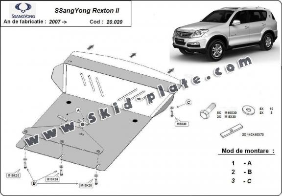 Steel skid plate for SsangYong Rexton 2