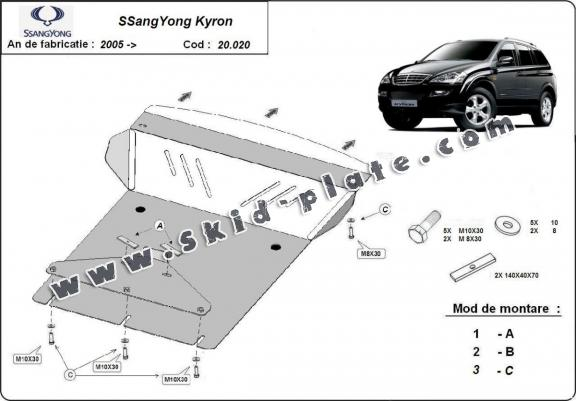 Steel skid plate for SsangYong Kyron