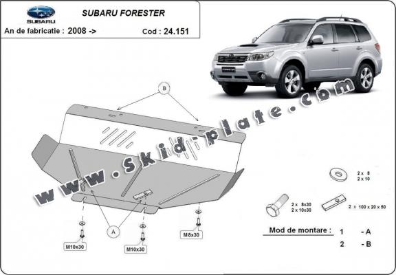 Steel skid plate for Subaru Forester 3