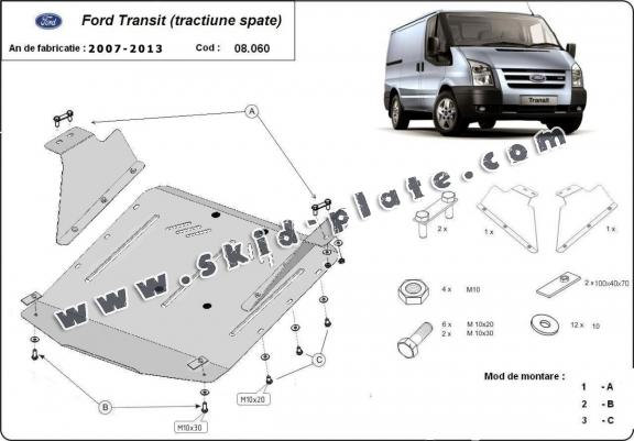 Steel skid plate for Ford Transit - RWD