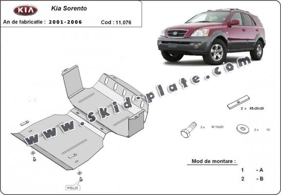 Steel skid plate for the protection of the engine and the radiator for Kia Sorento