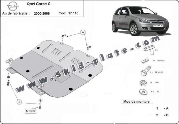Steel skid plate for Opel Corsa C