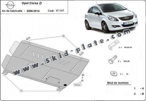 Steel skid plate for Opel Corsa D