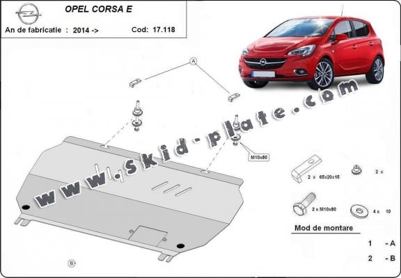 Steel skid plate for Opel Corsa E