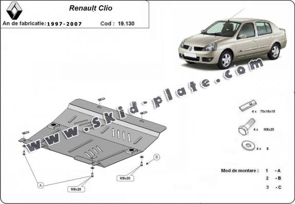 Steel skid plate for Renault Clio 2