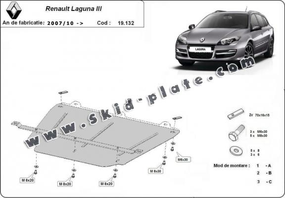 Steel skid plate for Renault Laguna 3