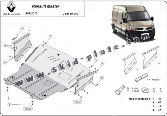 Steel skid plate for Renault Master 2