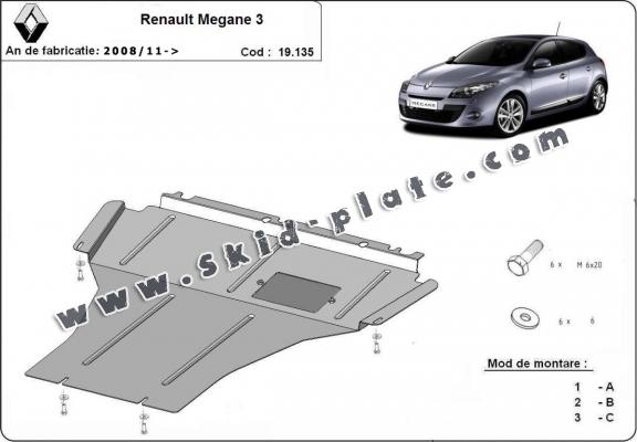 Steel skid plate for the protection of the engine and the gearbox for Renault Megane 3