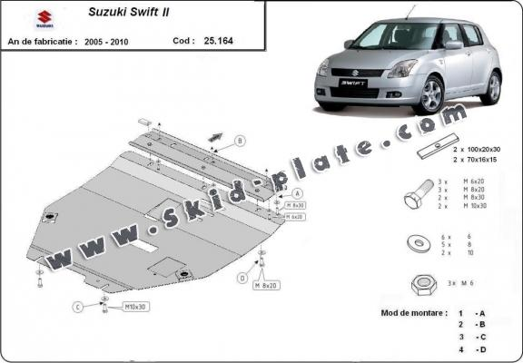 Steel skid plate for Suzuki Swift 2