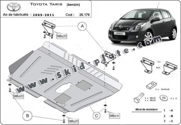 Steel skid plate for Toyota Yaris - petrol