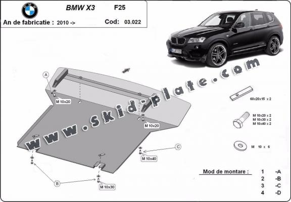 Steel skid plate for BMW X3 - F25