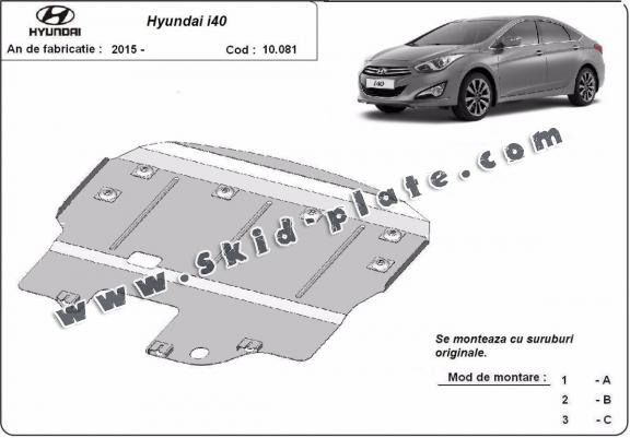 Steel skid plate for the protection of the engine and the gearbox for Hyundai i40