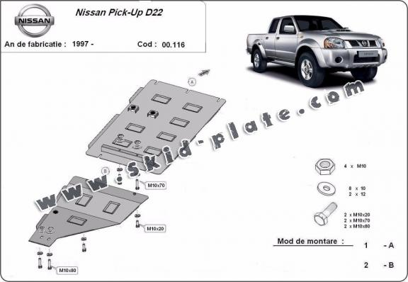 Steel gearbox skid plate for Nissan Pick Up