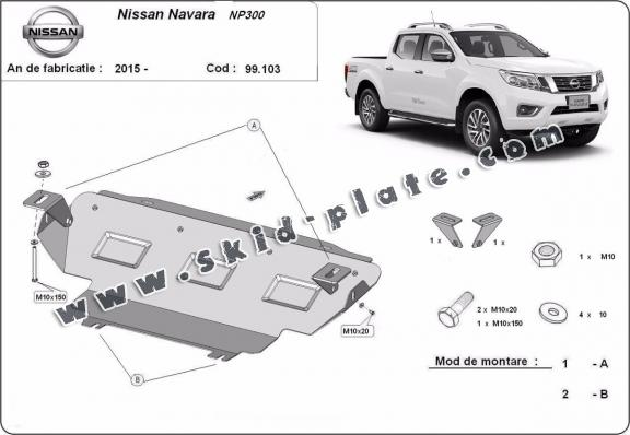 Steel radiator skid plate for Nissan Navara NP300